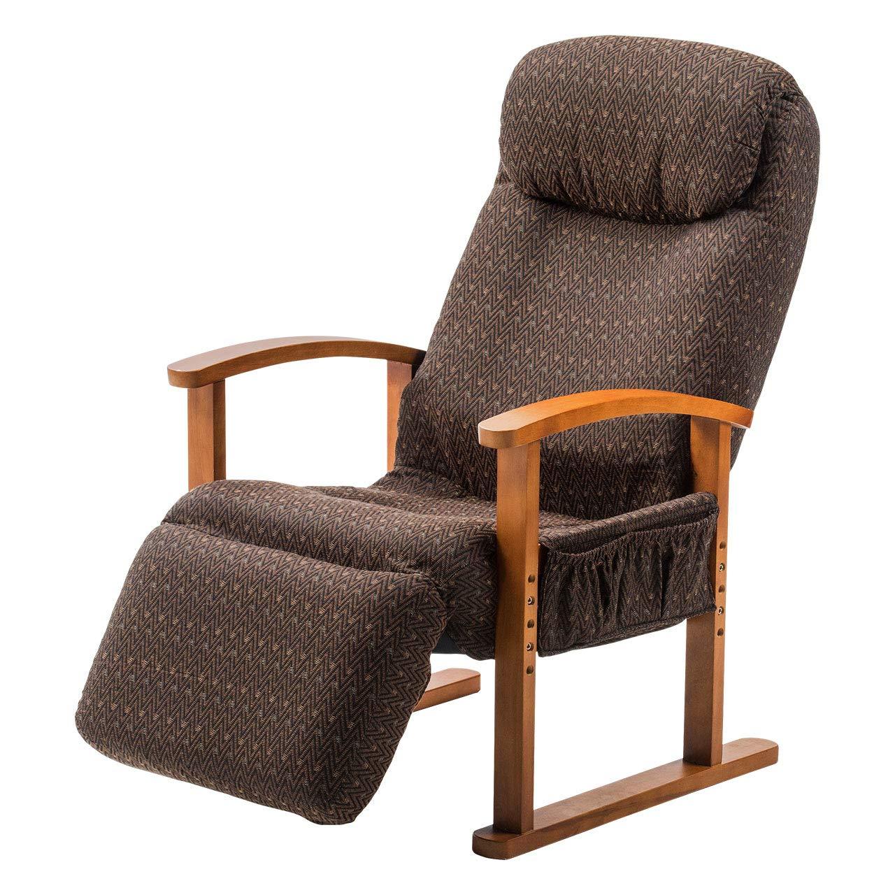 サンワダイレクト 高座椅子 レバー式リクライニング 背もたれ8段階 オットマン14段階角度調整 サイドポケット付 ハイバック オットマン ブラウン 150-SNCH025 B07P6HFGX3