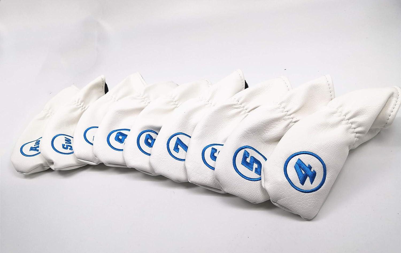 RoyMade PUレザー ゴルフアイアンヘッドカバー ヘッドカバー 9個セット すべてのゴルフアイアンにフィット B07RKNBB52 ホワイト