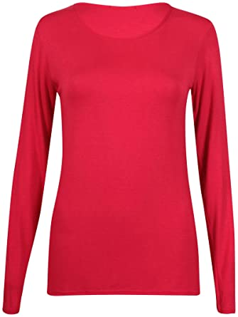b6d434fc5 New Ladies Plain Stretch Fit Long Sleeve Womens T-Shirt Round Neck Basic  Top Red Size 8 - 10: Amazon.co.uk: Clothing