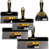 DEWALT Stainless Steel Big Back Taping Knife 4-Pack + FREE BONUS 6' Soft Grip Putty Knife | 8/10/12-Inches | Soft Grip…