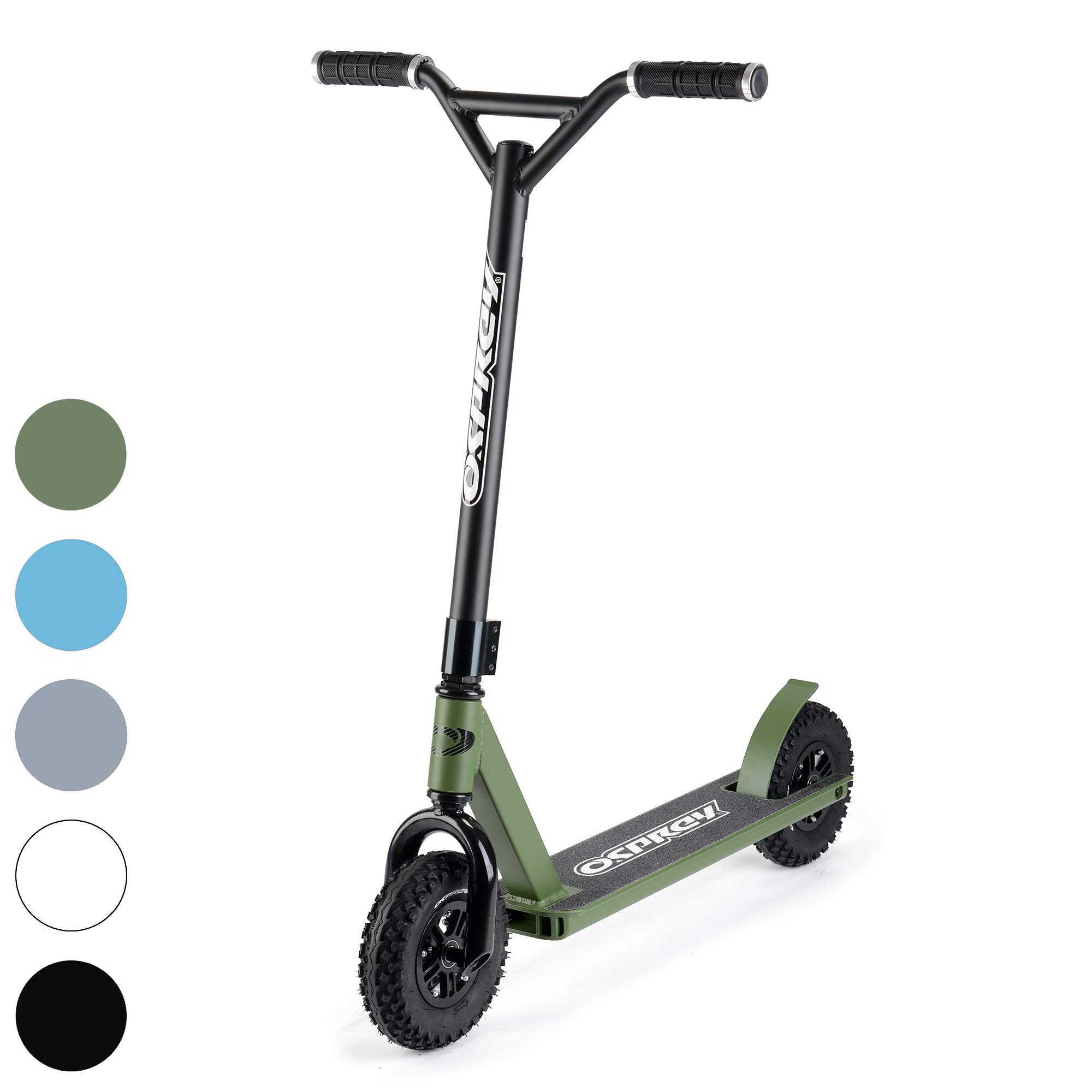 Osprey Dirt Scooter with Off Road All Terrain Pneumatic Trail Tires - NATO Green - Offroad Scooter for Adults or Kids by Osprey