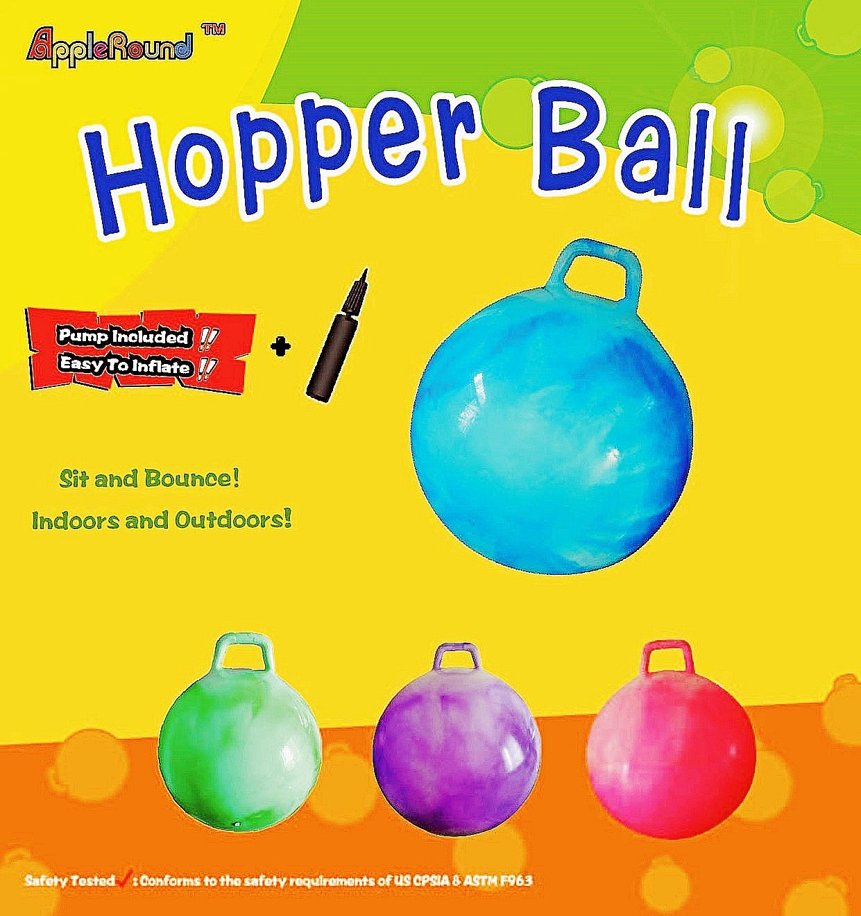 AppleRound Space Hopper Ball with Air Pump: 28in/70cm Diameter for Age 13+, Hop Ball, Kangaroo Bouncer, Hoppity Hop, Jumping Ball, Sit & Bounce by AppleRound (Image #3)