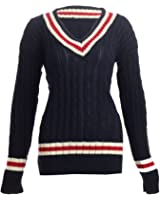 Womens Chunky Cable Knitted Ladies Cricket Jumper / Size 8-14 - £14.99 (One Size - Fits UK(8-14), Navy)