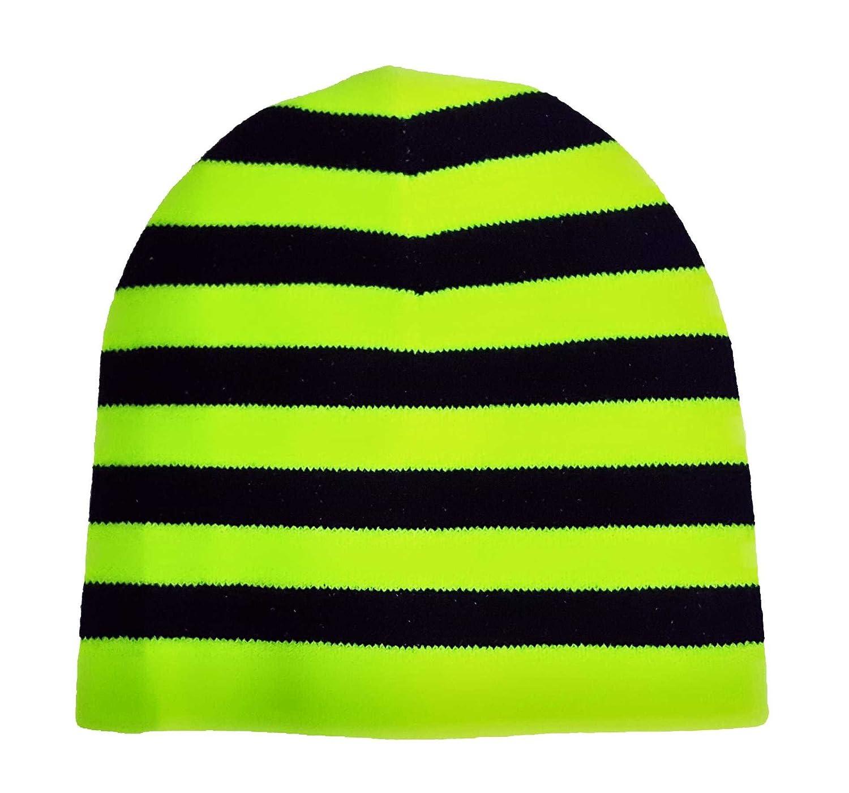 Amazon.com  Black   Neon Yellow Stripes Beanie  Clothing fc7264a01d0
