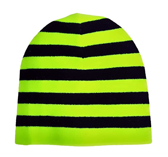 Image Unavailable. Image not available for. Color  Black   Neon Yellow  Stripes Beanie fdda3bd18d9