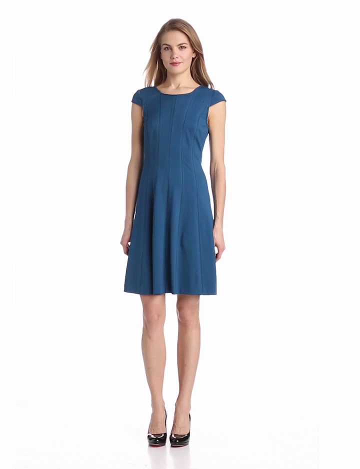 Adrianna Papell Womens Cap Sleeve Scoop Neck Flare Dress, Wedgewood, 6