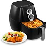 KUPPET YA800 Hot Air/Deep Fryer Oilless 4.76 QT, with Basket - Non Stick & Detachable Dishwasher Safe,Timer Temperature Control - 8-in-1, 6 Cooking Presets, 1350W, Black