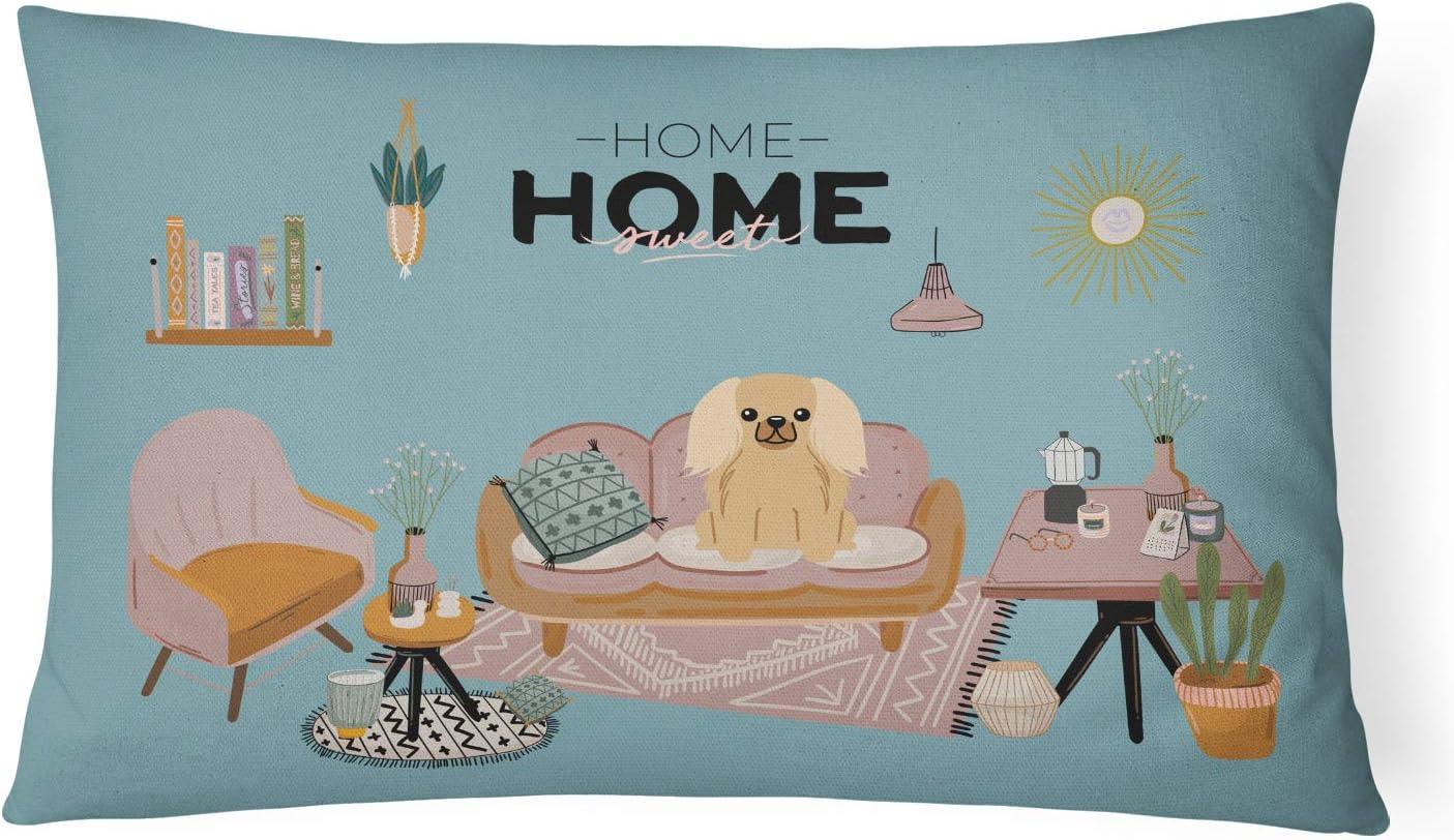 Caroline's Treasures CK7949PW1216 Fawn Sable Pekingese Sweet Home Canvas Fabric Decorative Pillow Patio-Furniture-Pillows, Multicolor