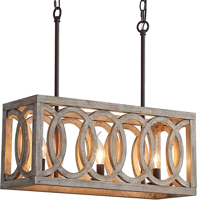 Rustic 3 Light Chandelier Wood And Metal Pendant Light Fixture Kitchen Island Ceiling Lighting Farmhouse Chandelier For Dining Room Kitchen Table Restaurant Coffer Bar