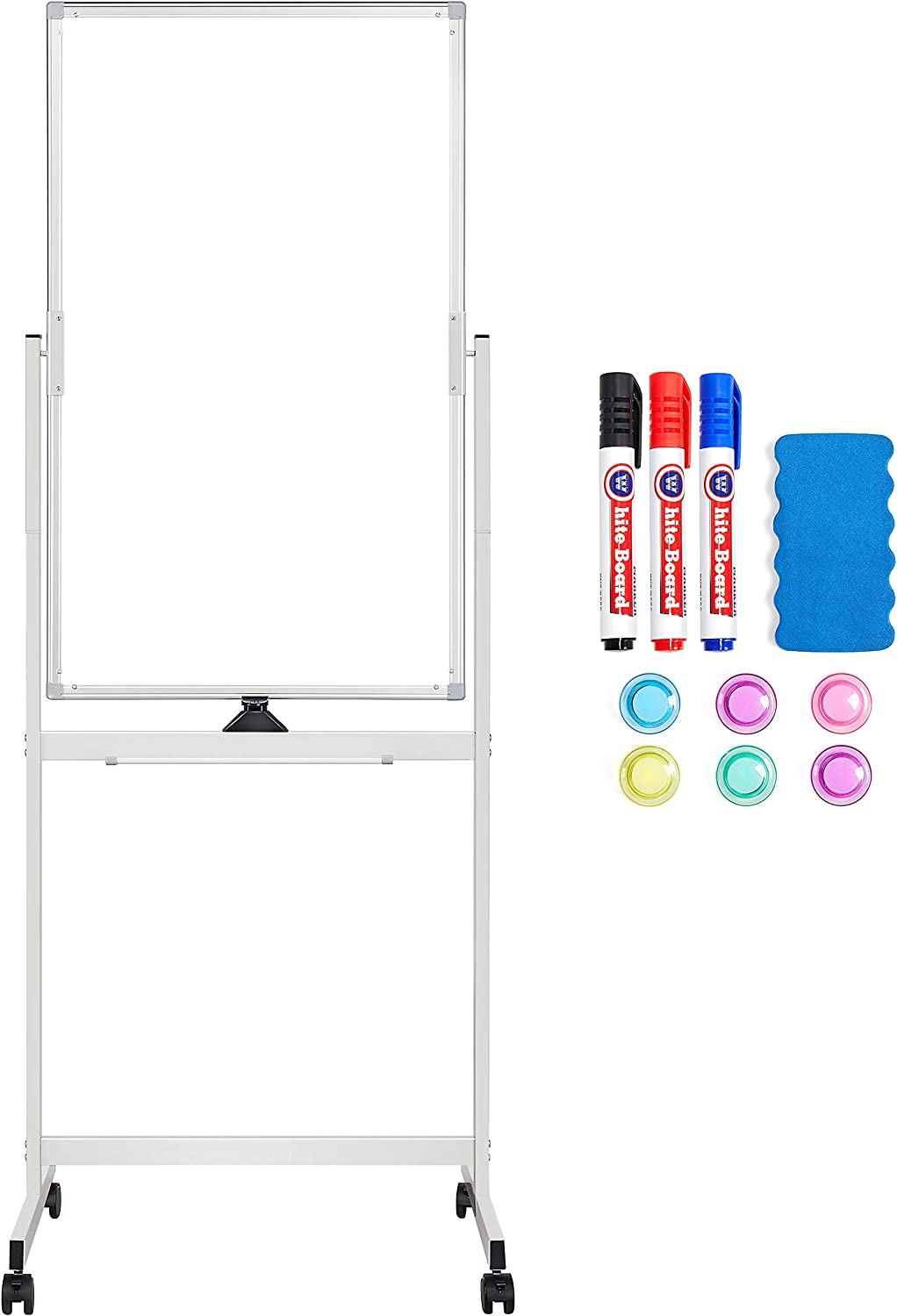 Topeakmart Magnetic Mobile White Board 40x24 Double Sided Dry Erase Board on Wheels 360° Rolling Whiteboard Portable Easel with Stand for Office Meeting Classroom