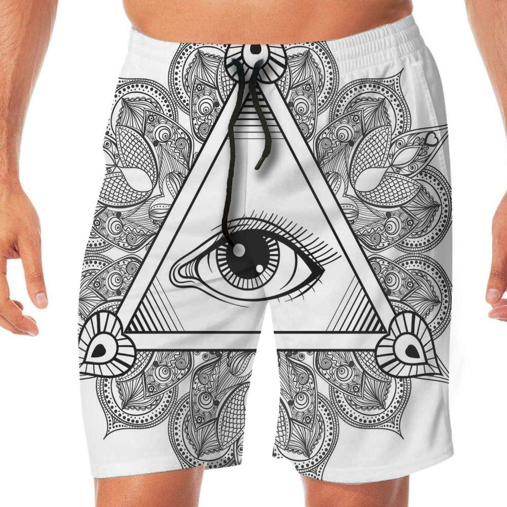 Haixia Men Lightweight Boardshorts Eye Vintage All Seeing Eye Tattoo Symbol Wi