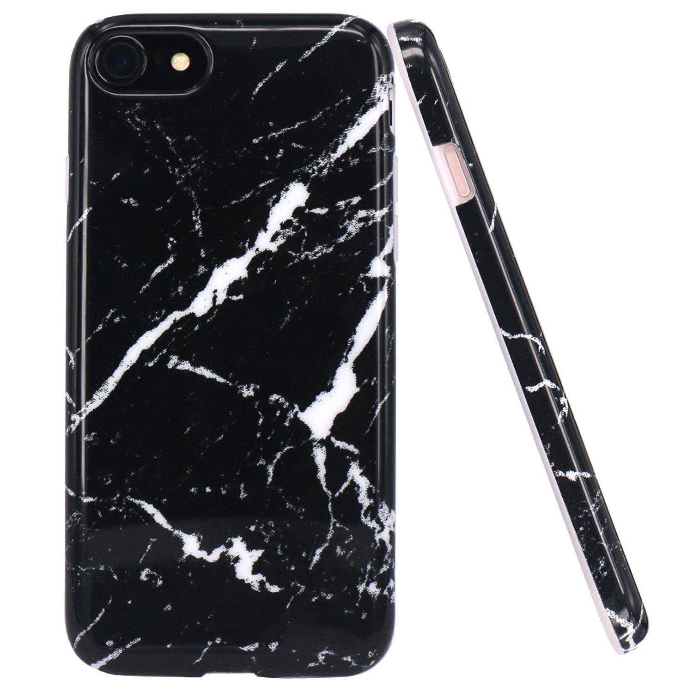 Amazon Com Jaholan Black Marble Design Clear Bumper Glossy Tpu Soft