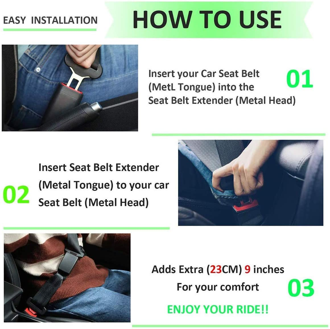 Black Seat Belt Extender-2 Pack 8 inches Seat Belt Extension E11 Safety Certified 7//8 Metal Tongue