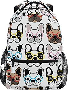 Cute Colorful French Bulldog Puppy Backpacks Travel Laptop Daypack School Bags for Teens Men Women