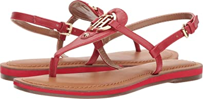 d75302e1 TOMMY HILFIGER Womens Genei Leather Open Toe Casual, Red Leather, Size 7.0