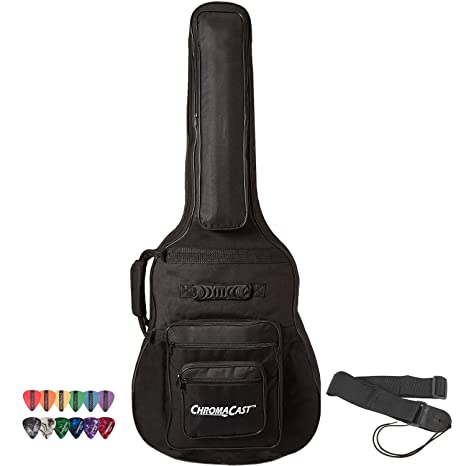 d68c56f1637 Amazon.com: ChromaCast Acoustic Guitar 6-Pocket Padded Gig Bag with Guitar  Strap and Pick Sampler: Musical Instruments
