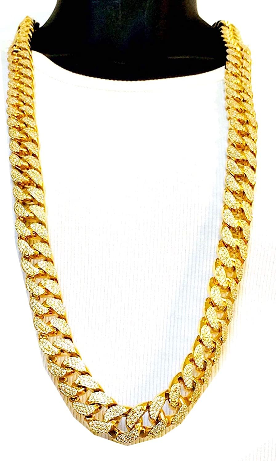 Bitter Sweet Store Mens New Iced Out Miami Cuban Link Thick Heavy Necklace or Bracelet Box Clasp