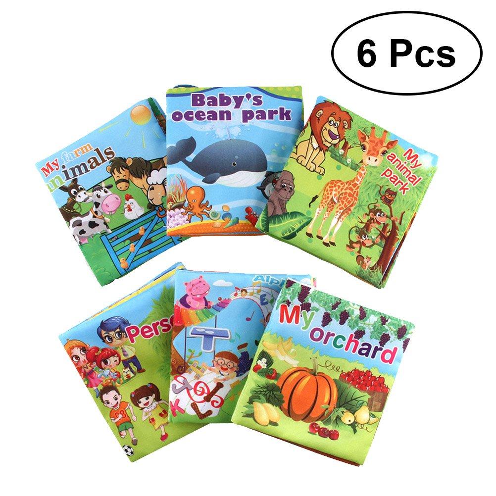 STOBOK Livre en Tissu pour Bébé Développement Intellectuel Livre des Animaux Marins Précoce Education 6 Pièces