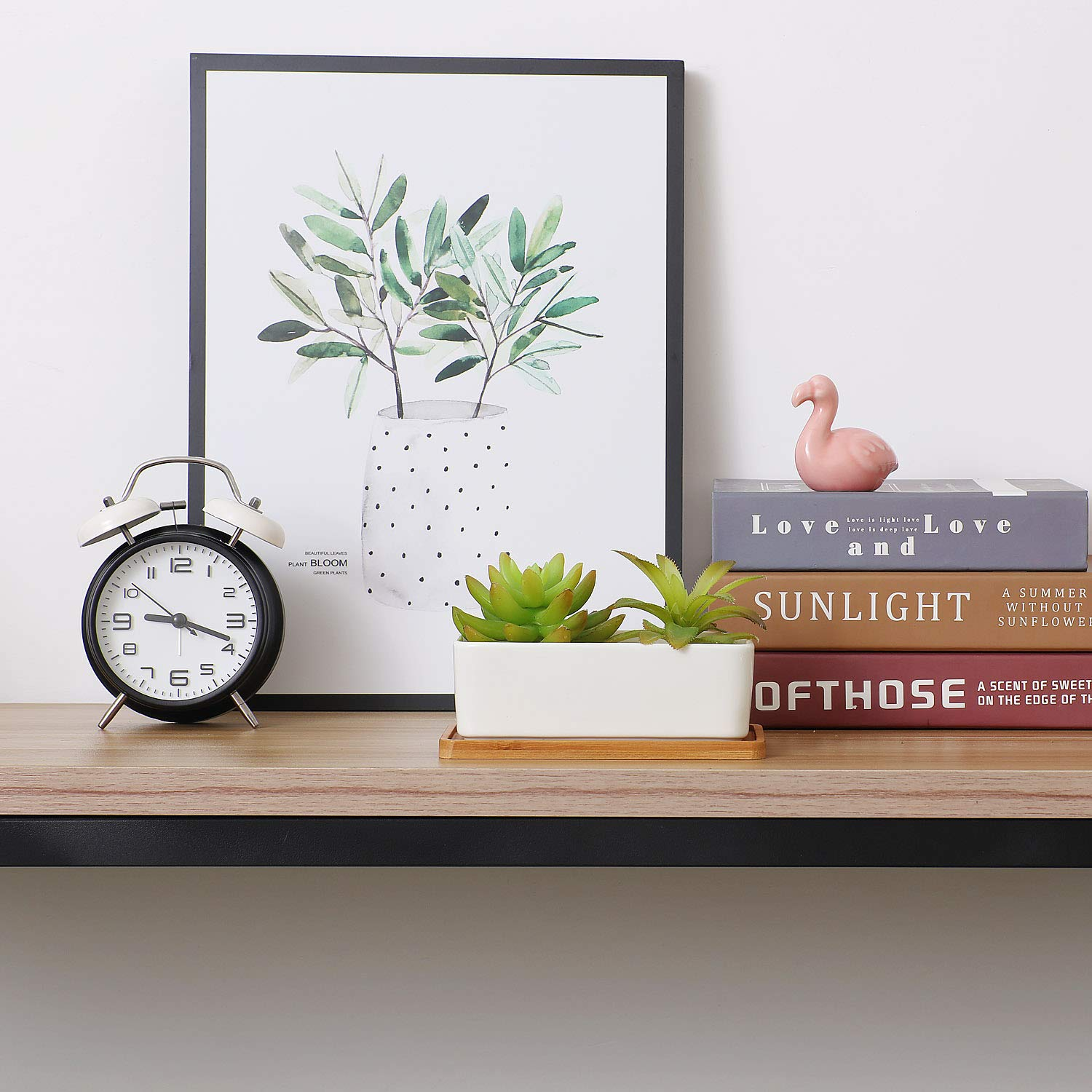 T4U Ceramic Rectanglar Succulent Plant Pot with Free Bamboo Tray White Gift for Home Office Decoration
