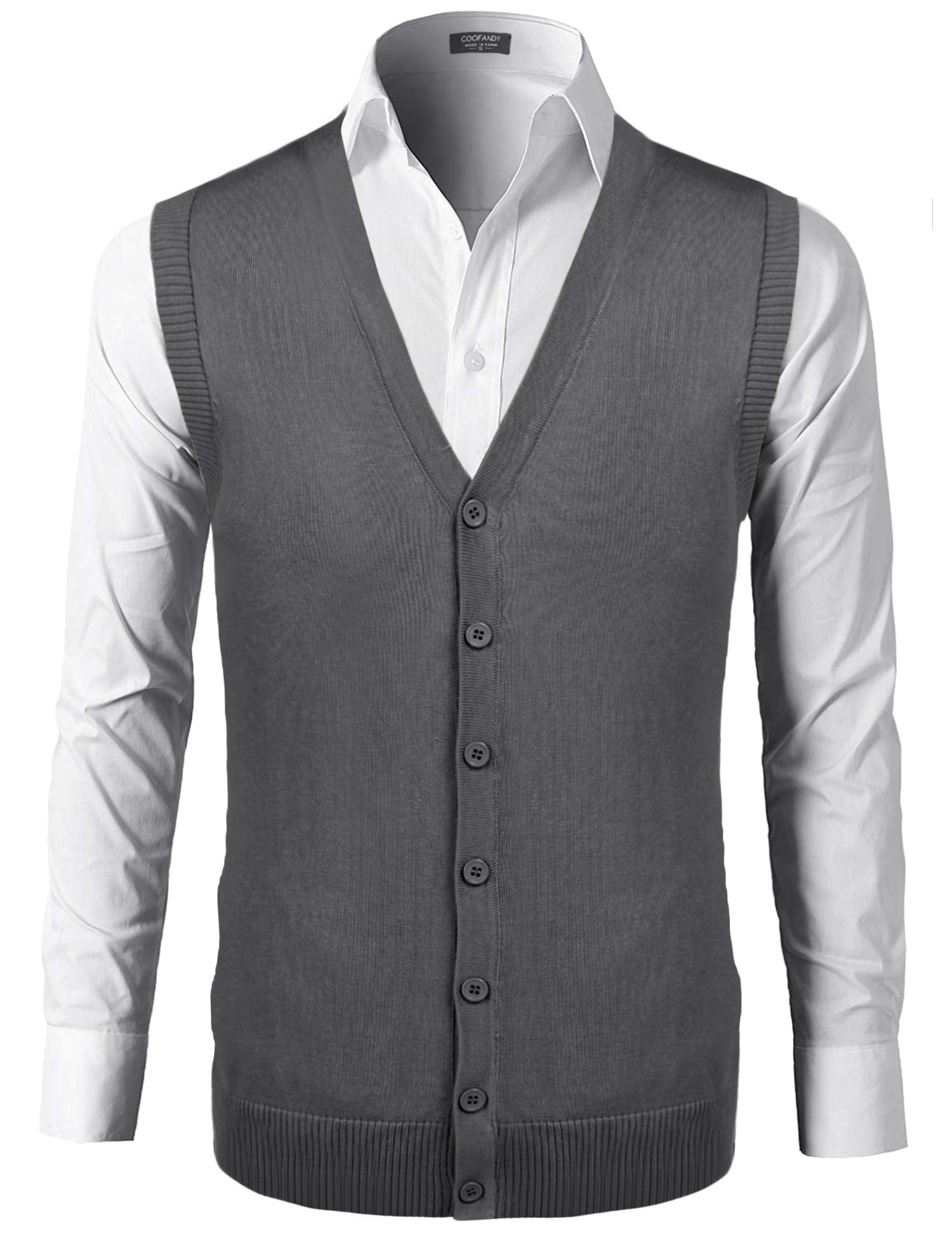 COOFANDY Men's Cashmere Sweater Vest Button Down V-Neck Cardigan Autumn Winter Grey by COOFANDY