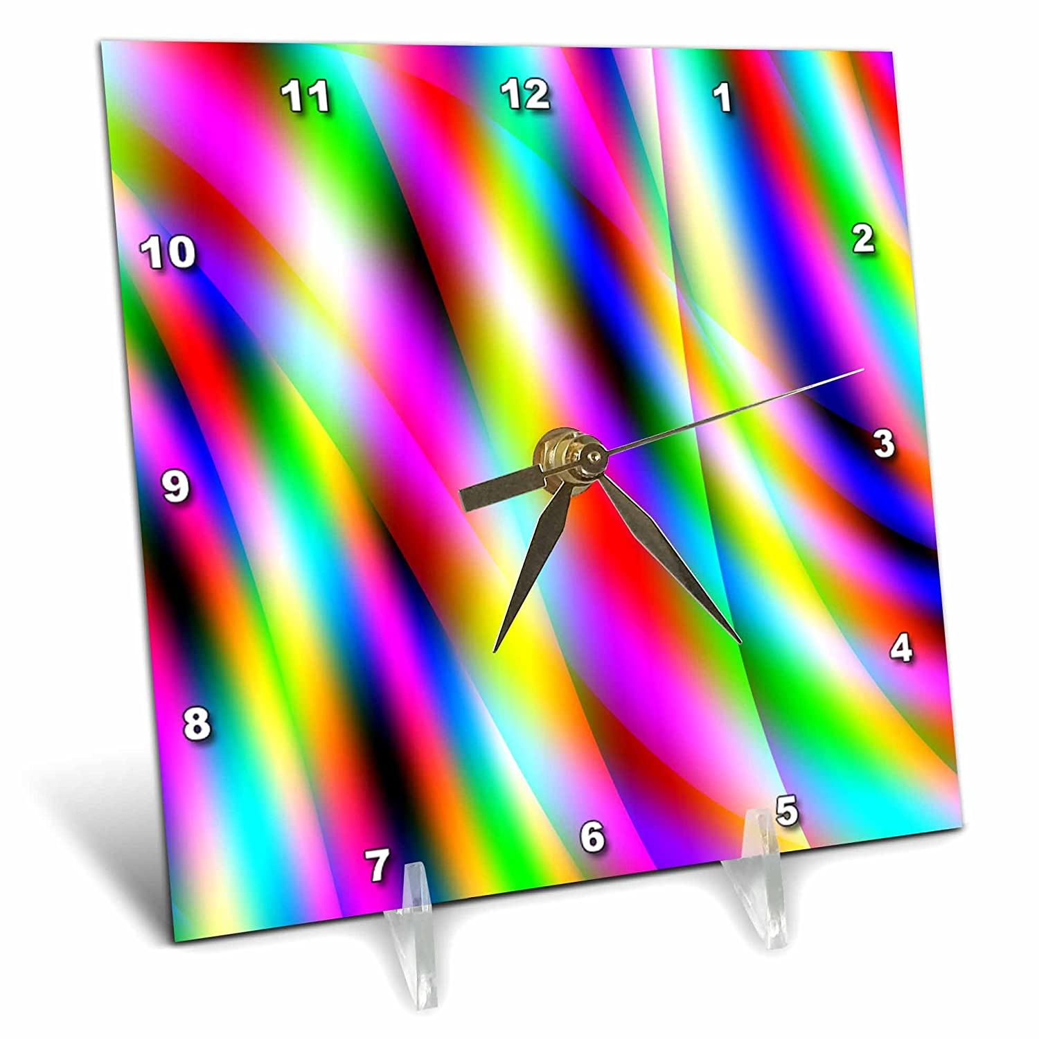 3dRose dc_130409_1 Abstract in Multi-Color by Angel and Spot-Desk Clock, 6 by 6-Inch