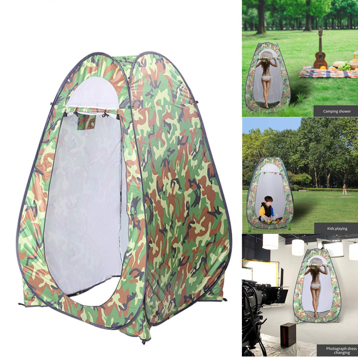 HomVent Pop Up Camping Shower Tent Instant Portable Changing Room Privacy Shelter Tent with Carrying Bag for Camping & Beach (Camouflage) by HomVent