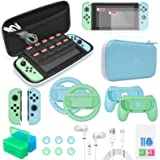 Accessories Bundle Compatible with Nintendo Switch, 26 in 1 Essential Protection Kits with Carrying Case, Screen Protector, C