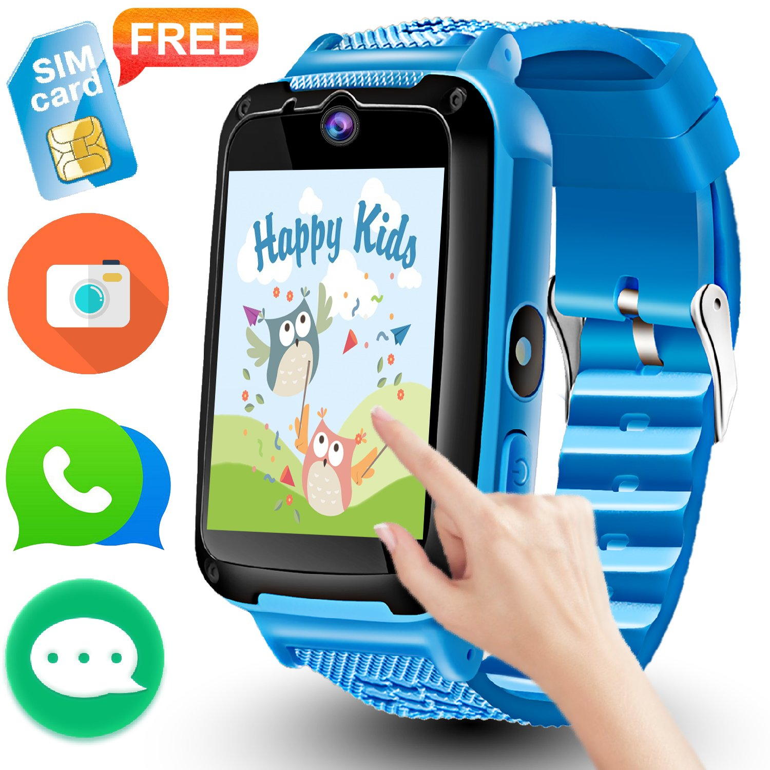 Kids Phone Smart Watch – [Speedtalk SIM Included] Kids Smartwatch for 3-14 Year Boys Girls Camera Game Sport Outdoor Cellphone Watch Bracelet for Gift