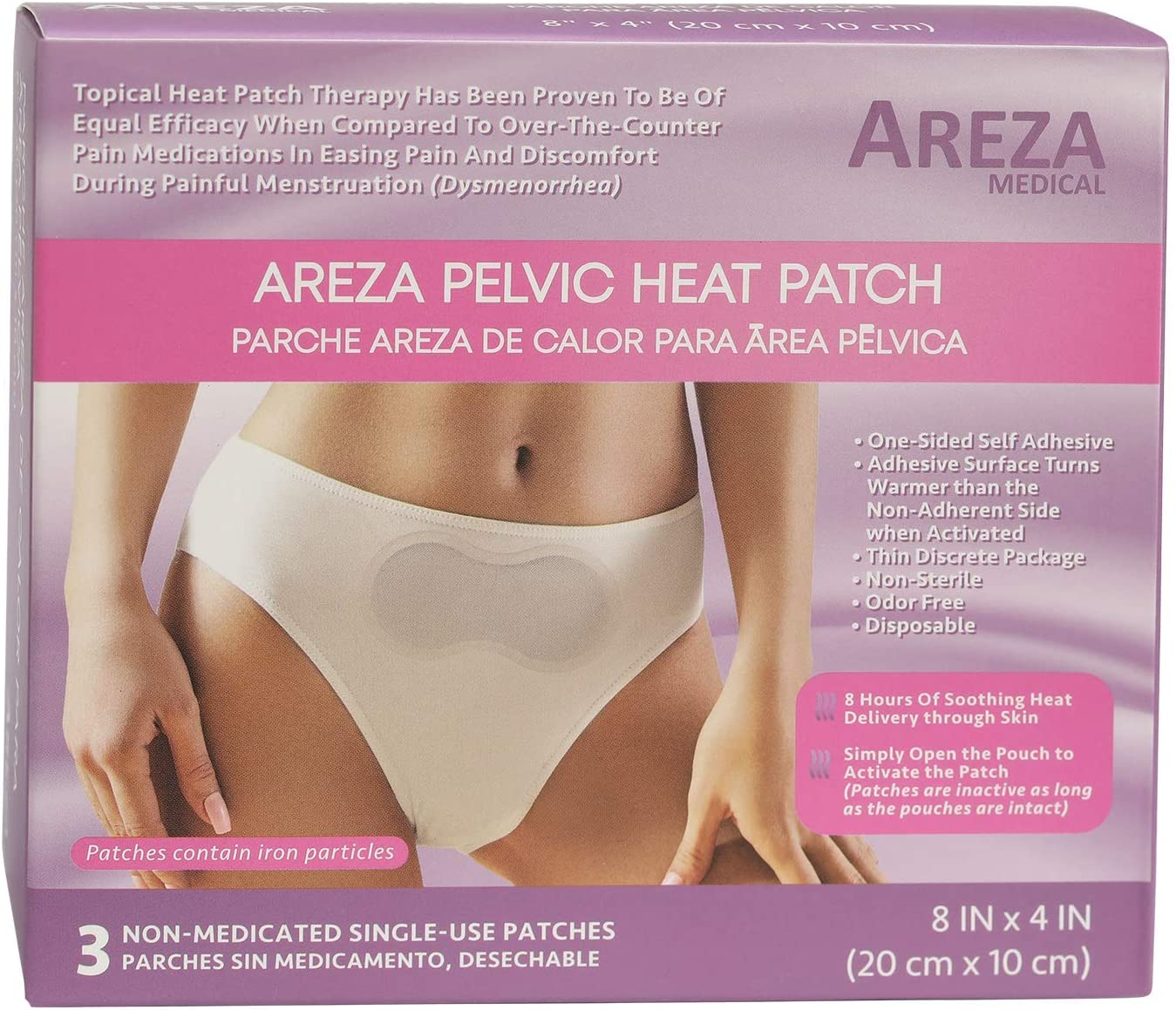 "Pelvic Heat Patch 8"" x 4"" Self Adhesive by Areza Medical (Menstrual Heat Patch)"