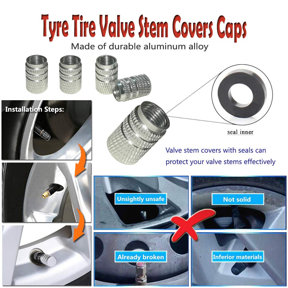 Tire Covers for RV Wheel 4PCS Trailers Tire Covers Set of 4 and Tire Tools 14 Sets for Motorhome Wheel Covers RVS,Boat,Waterproof Reflective Safety Tire Protectors Fits 26 to 29 Wheels