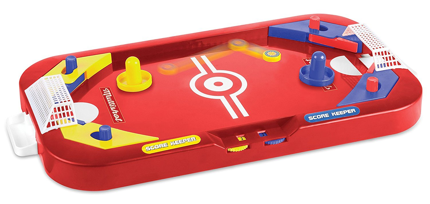 Two Player Desktop 2 in 1 Soccer and Knock Hockey Table Top Game - Classic Arcade Games Tabletop Soccer Ball Ice Hockey Shooting Fun Toys For Kids Boys Girls Adults Sports Fans by Perfect Life Ideas
