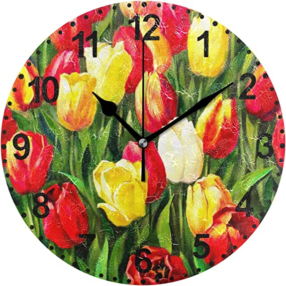 Amazon Com Round Wall Clock Tulips Flowers Blossom In The Meadow 10 Inch Battery Operated Quartz Analog Quiet Desk Clock For Home Office School Home Kitchen