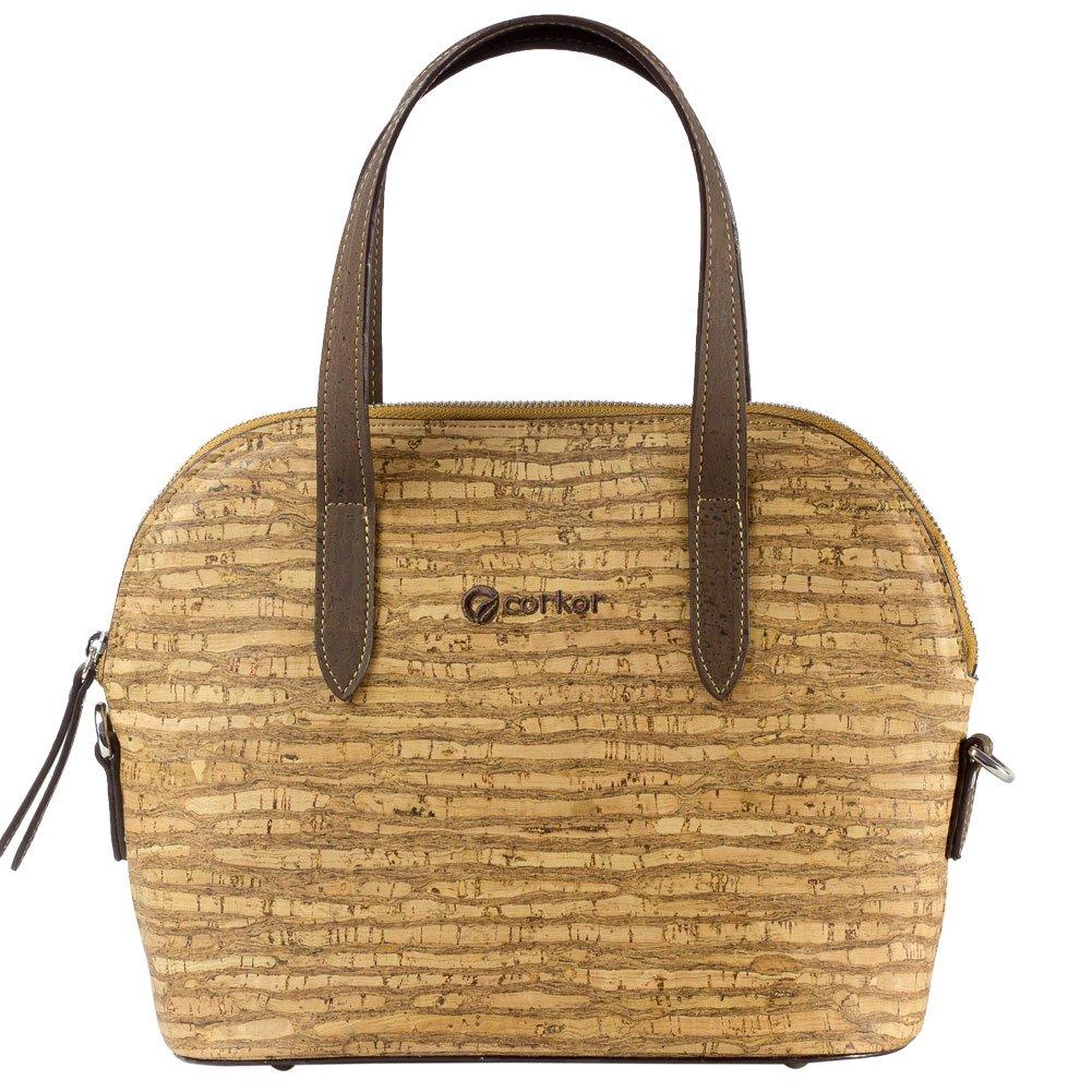 Corkor Top Handle Handbag Tote Small 9 to 5 Crossbody Cork Bag Satchel Natural Zebra