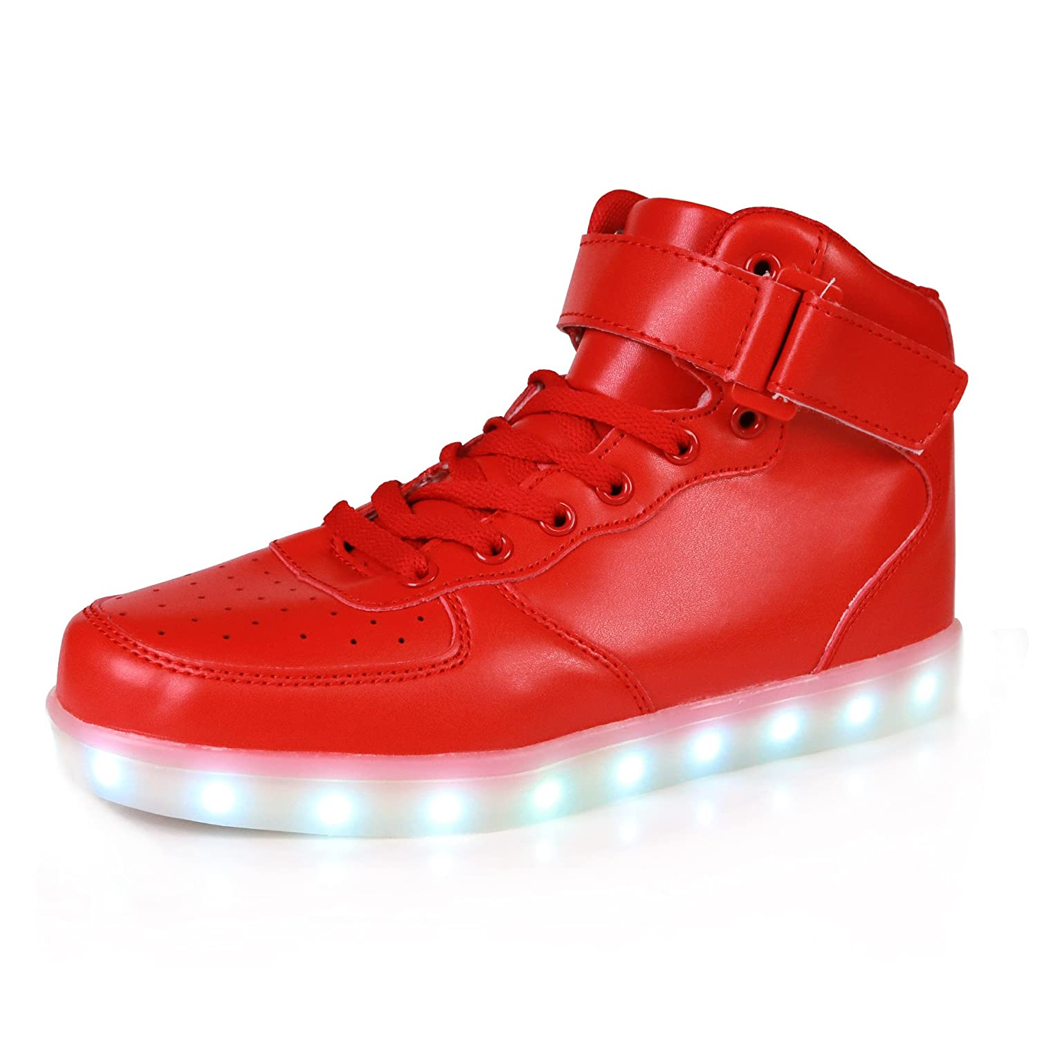 POMT Children's High Top USB Charging LED Light Casual Shoes Boys Girls Luminous Neon Basket Sneakers