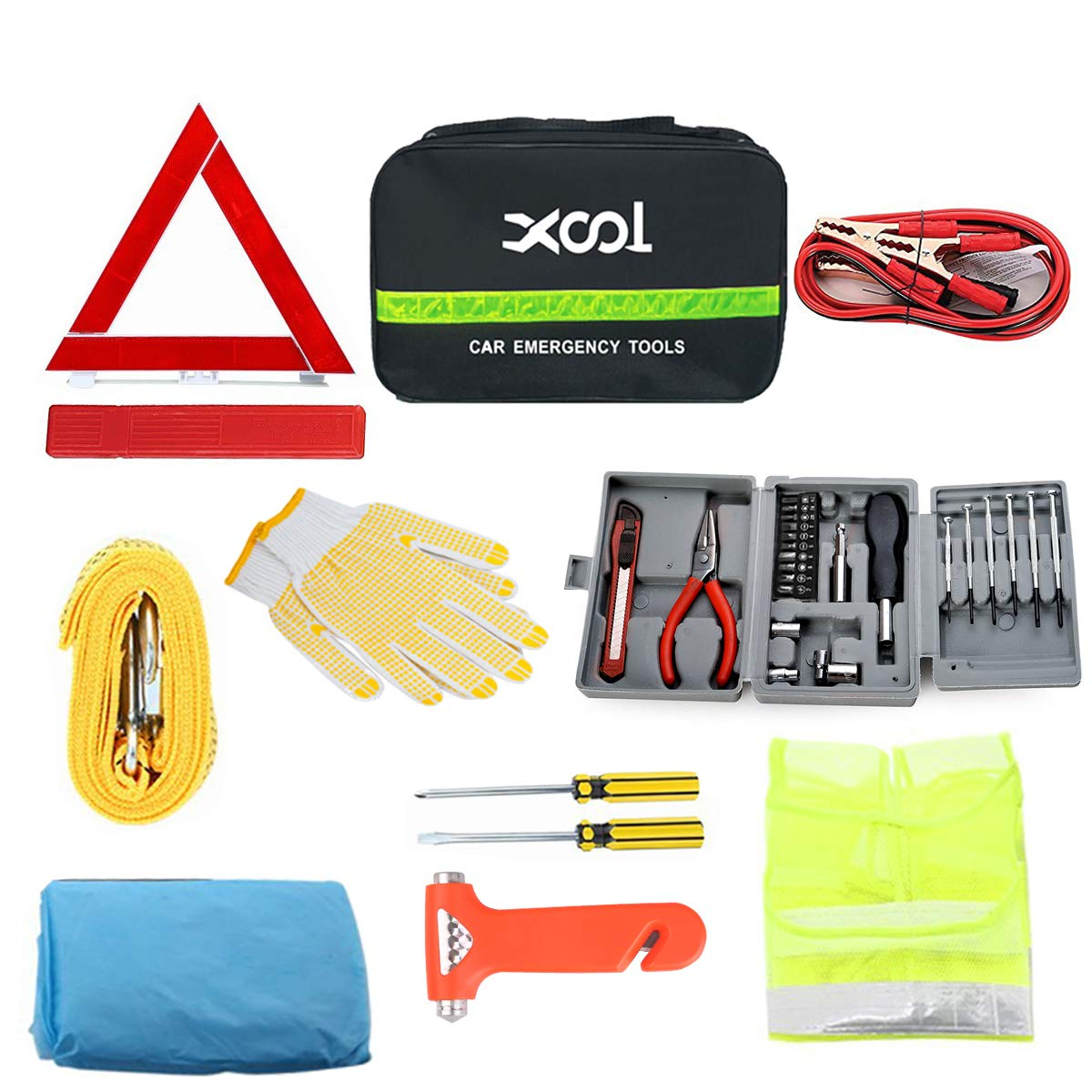 XOOL Car Emergency Kit Truck Or SUV Shenzhen Baishichuangyou Technology co.ltd. Safety Vest /& More Ideal Winter Accessory for Your Car Vehicle Roadside Car Emergency Kit with Screwdriver Kit Safety Triangle Tow Rope Tire Pressure Gauge