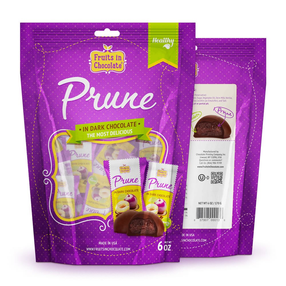 Dark Chocolate Covered Prunes, 6 Oz Bag by Fruits in Chocolate