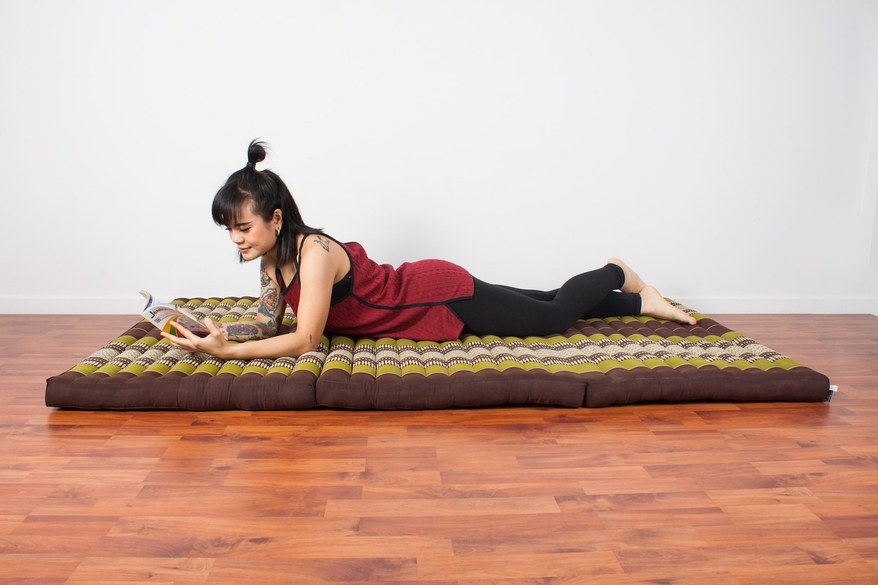 Leewadee Thai Massage Mat XL, 82x46x3 inches, Kapok, brown green by Leewadee (Image #6)
