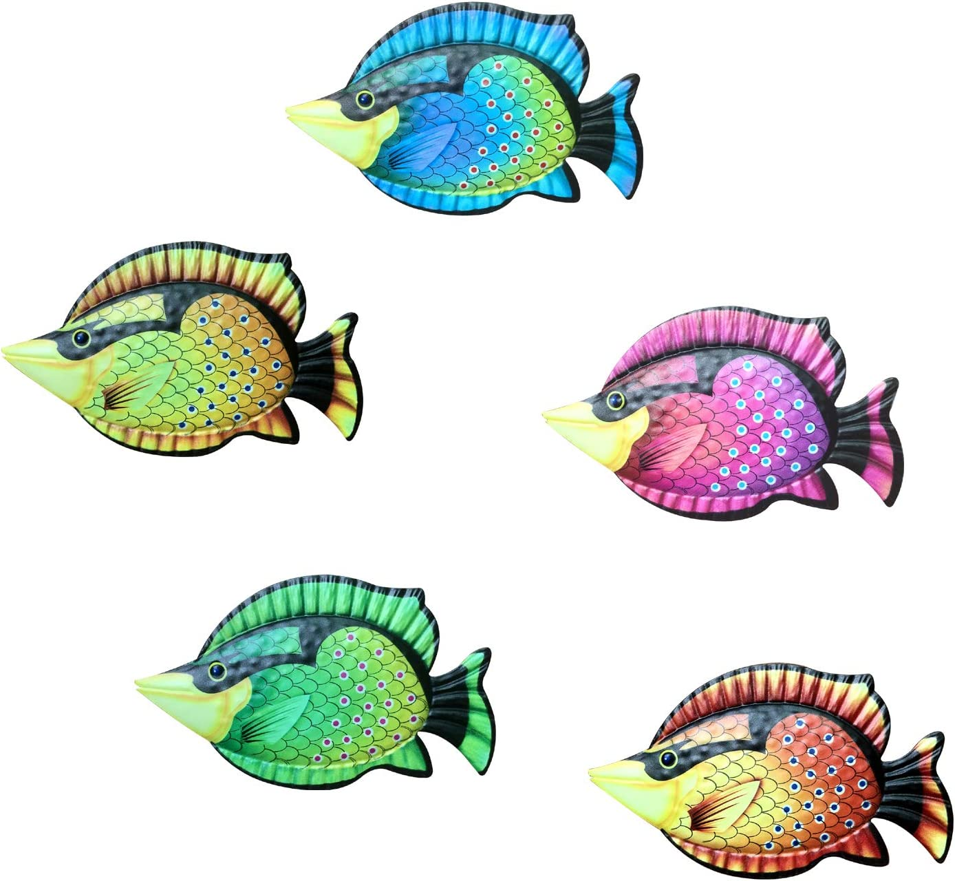 Funlive Wall Sculptures Coastal Ocean Sea Metal Fish Hanging Wall Art Decor Set of 5 for Outdoor or Indoor