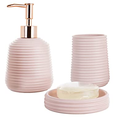 MyGift 3-Piece Pink Resin Bathroom Accessory Set with Soap Dish, Tumbler, Soap Dispenser