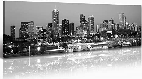 Jiazugo B W Panoramic Cities Denver Skyline Modern Art Work Cityscape Pictures Paintings On Canvas Wall Art Wall Pictures Bedroom Art Home Decorations Office Decor Ready To Hang 14 X48 Posters