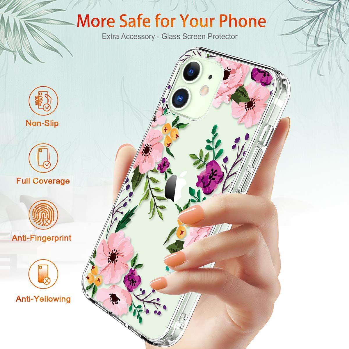 Shockproof Hard Case with TPU Bumper Cover Phone Case for iPhone 12, Small Flowers