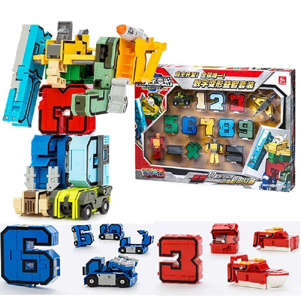 SSJ Kids Children Educational Toys Magic Number Combined Robot Transformers Robots 15 pieces Set