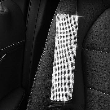 Poehxtyy 1pc Crystal Diamond Auto Sicherheitsgurt Schulterpolster Strass Leder Handwerk Sicherheitsgurt Cover Bling Bling Autozubehör Für Frauen Haustier
