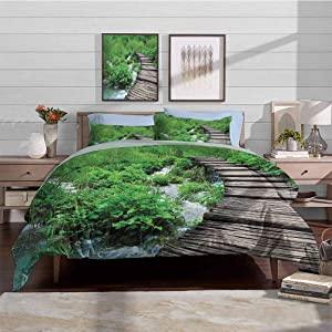 Bedding Duvet Cover Set Pattern Printed Comforter Quilt Cover Path And Waterfall Board in Croatia Cascade Garden Lake Fence Peaceful View Decorative 3 Piece Bedding Set with 2 Pillow Shams, Twin Size