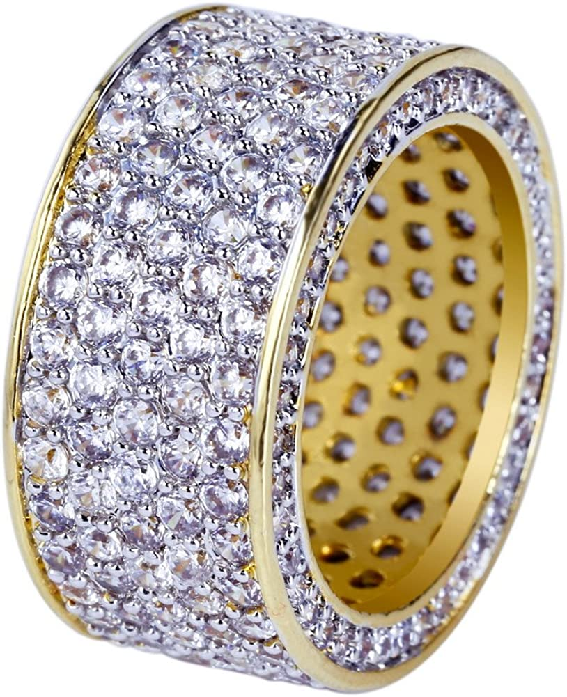 JINAO 18K Gold 11mm Eternity Wedding Engagement Band MICROPAVE CZ Iced Out Mens Ring