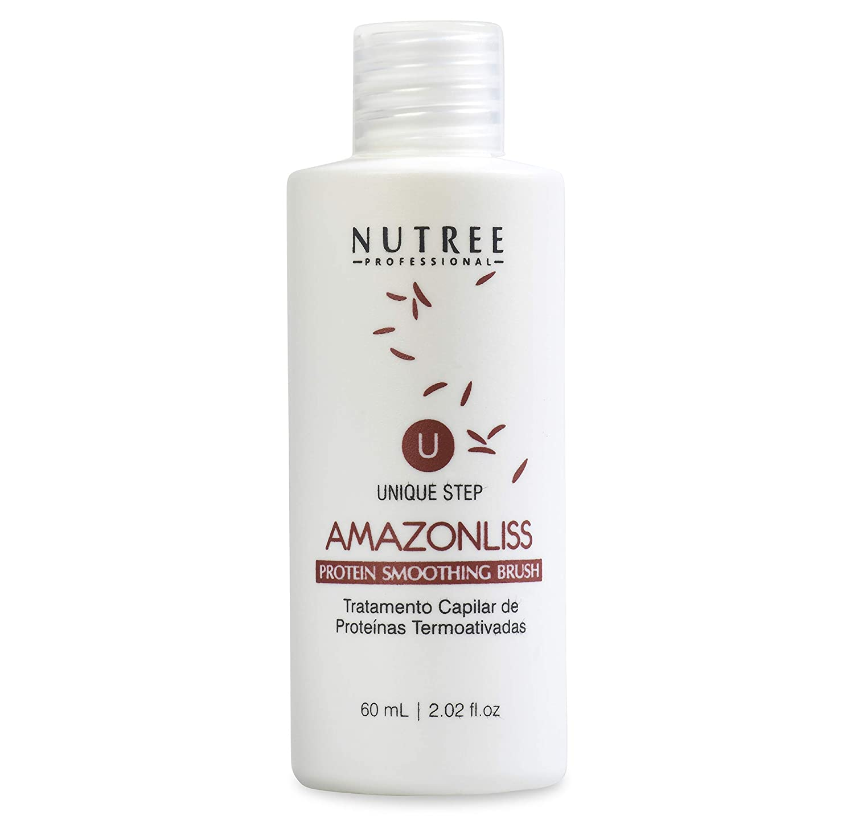 Hair Straightening Brazilian Protein Treatment 1 Step Amazonliss Protein Smoothing Brush 2.02 Fl.oz - New Formula - Odor-Free - Formaldehyde-Free (2.02 fl.oz protein bottle only)