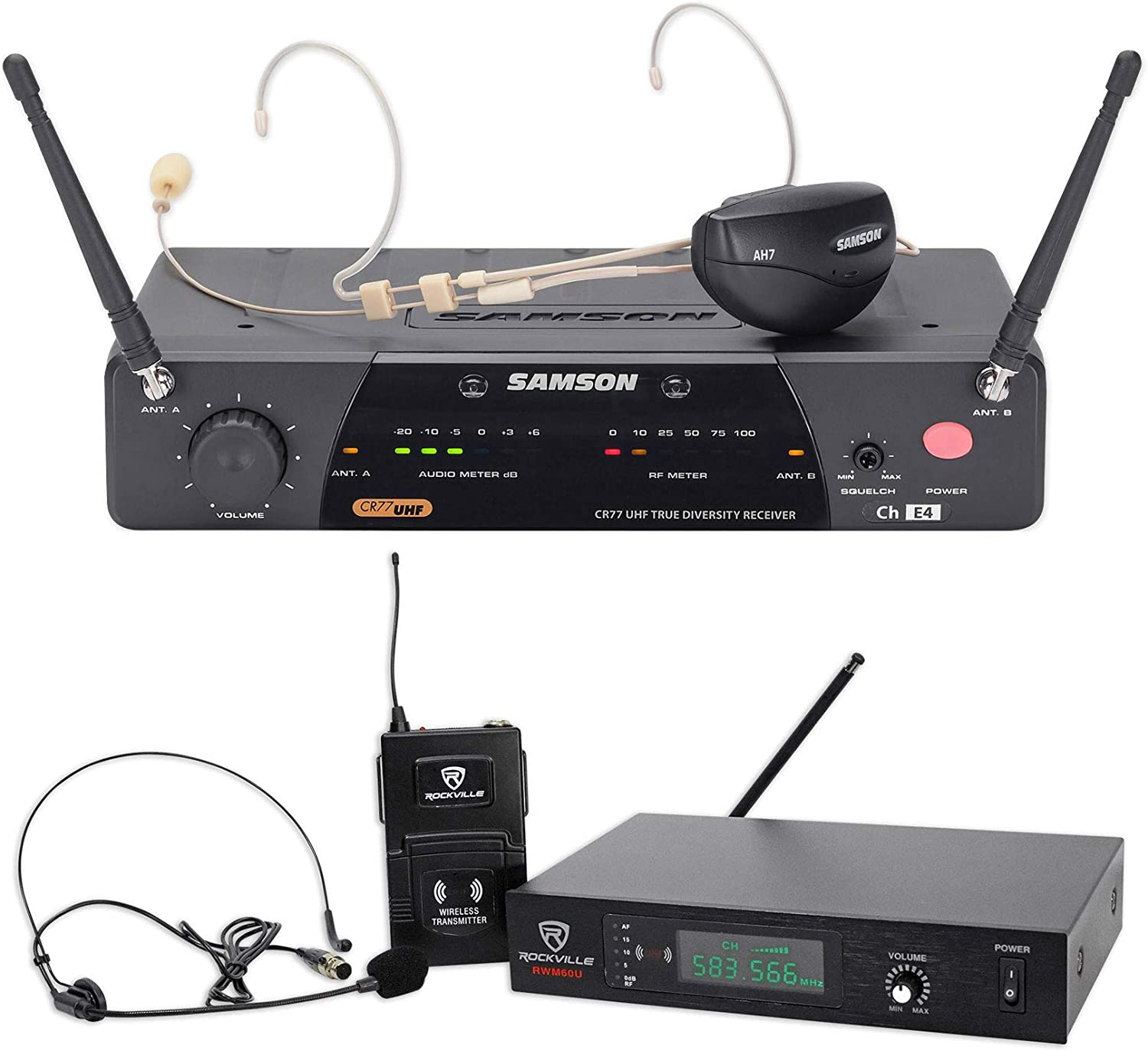 Samson AirLine 77 Wireless Fitness Headset Microphone Mic System-K2+Free Headset