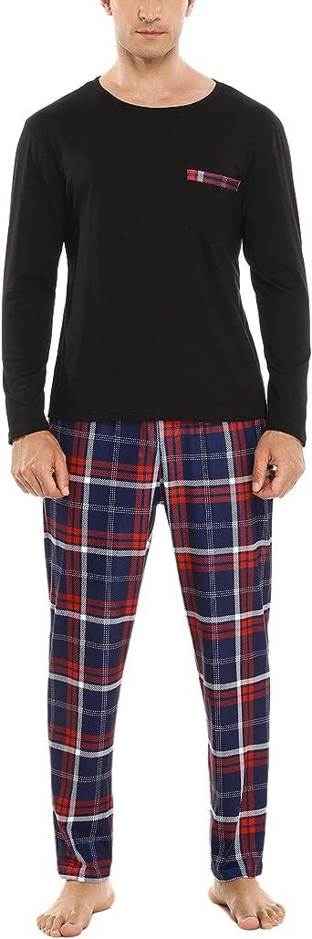 Sykooria Conjunto de Pijama de Longitud Completa para Hombre ...