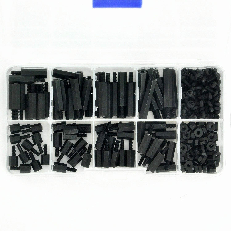 240PCS M2.5 Male Female Nylon Hex Spacer Standoff Screw Nut Threaded Pillar PCB Motherboard Assorted Assortment Kit Black
