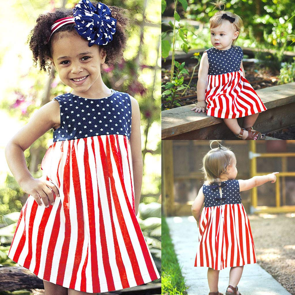 YOUNGER TREE Toddler Baby Girls Summer Outfit Stars and Stripes Bow-Knot Dress Independents Day Suits